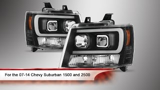 07-14 Chevy Suburban 1500/2500 Light Bar DRL Version 2 Projector Headlights