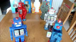 The Gang of Five Space Walk Man Robots in action