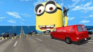 Spike Strip High Speed Epic Crashes - BeamNG.Drive(Giant Minion)