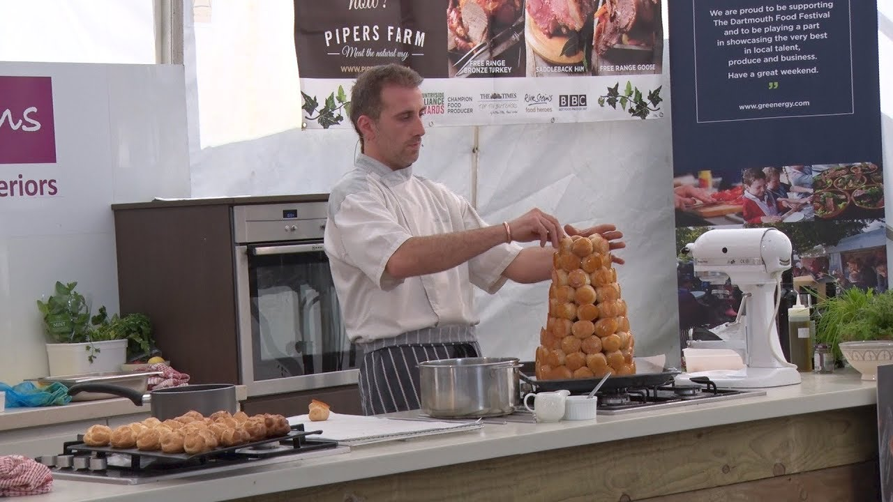 Demonstration How To Make Croque En Bouche Cake With Chef Julien From Saveurs Dartmouth Uk