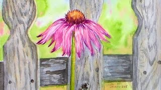 Echinacea in Watercolor Real-Time Tutorial