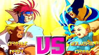 X-Men vs Street Fighter - Gambit & Nash【TAS by Dark Noob & SDR】