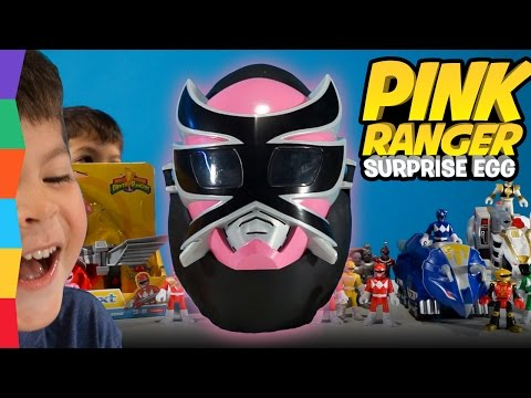 Mighty Morphin PINK RANGER Zord Giant Surprise Egg + Dino Charge Power Rangers Toys by ToyRap