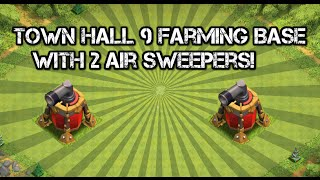 Clash Of Clans - Town Hall 9 (TH9) Farming Base With 2 Air Sweepers! New July Update 2015
