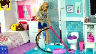 Barbie Rutina de la Manana Limpiando su Casa y Comprando en El Supermercado - Juguetes de ...