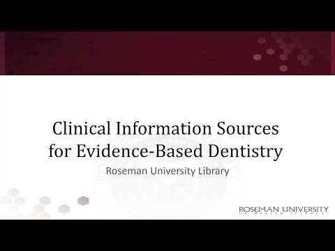 Clinical Information Sources for Evidence Based Dentistry