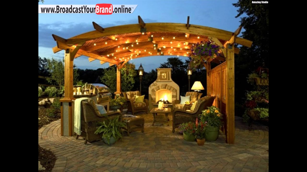 pergola essbereich outdoor k che kamin steinboden abends beleuchtung youtube. Black Bedroom Furniture Sets. Home Design Ideas