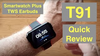 LEMFO T91 Health/Fitness Blood Pressure Smartwatch with integrated TWS Earbuds: Quick Overview