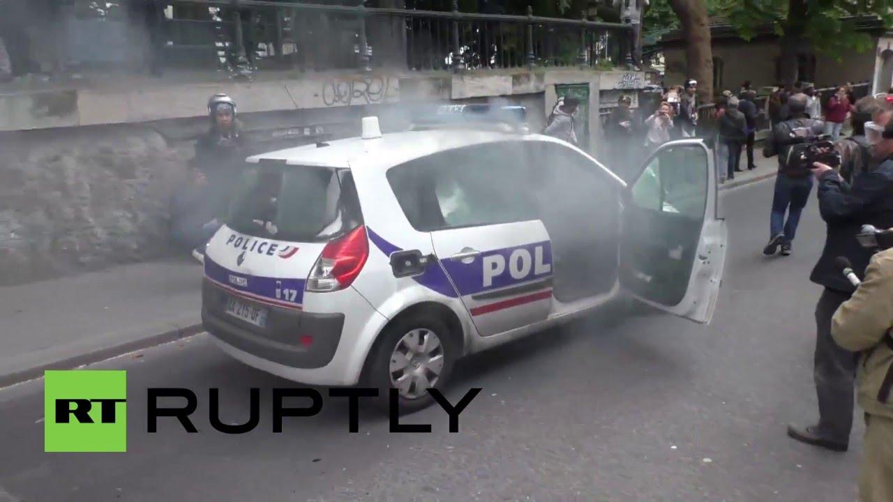 France Moving Police Car Smashed Up Set On Fire During Paris