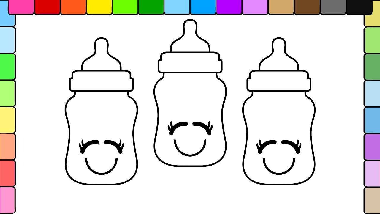 Water bottle coloring page water bottle coloring page clipart panda - Learn To Colors For Kids And Color Happy Baby Bottle Coloring Pages