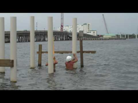 Using drill template to mark holes on TuffDock Pilings
