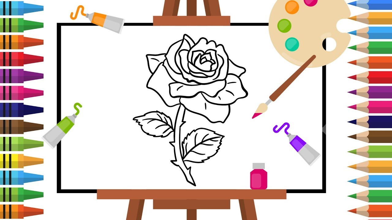 How to Draw Rose -Coloring pages for Kids - Art Colors for Children ...
