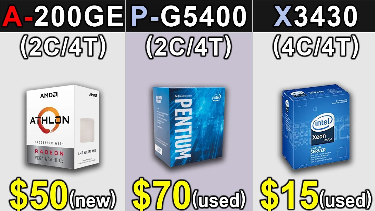 Athlon 200GE Vs  Pentium G5400 Vs  Xeon X3430 (3 8GHz)   GTX 1660