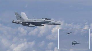 13/08/19 UN CHASSEUR  F-18 DE L'OTAN S'EST APPROCHÉ DE L'AVION DU MINISTRE RUSSE DE LA DEFENSE.