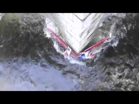Dramatic kayak escape caught on camera after boat splits in two on raging river