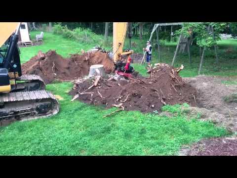 Excavator pulling a 28' Ash Stump