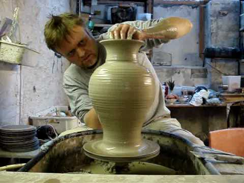 How To Throw A Big Tall Large Pottery Clay Vase On A Wheel