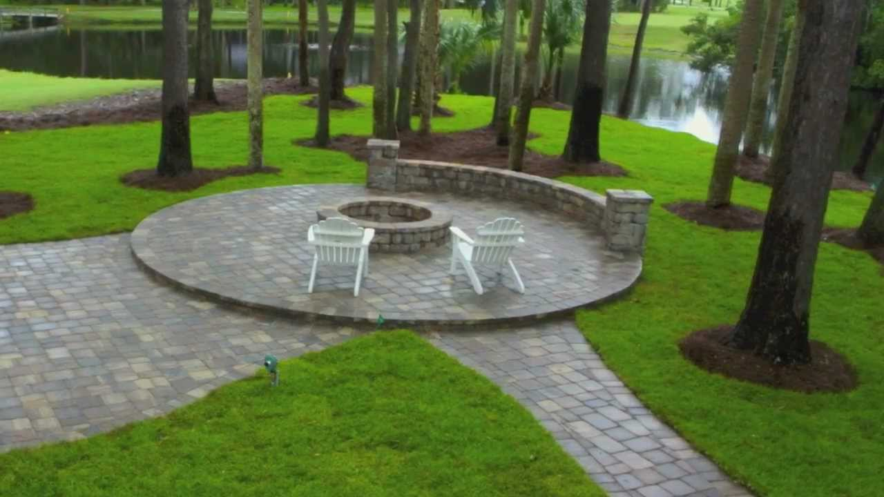 Ponte Vedra Paver Patio Design and Construction with Seat ... on Pavers Patio With Fire Pit id=18404