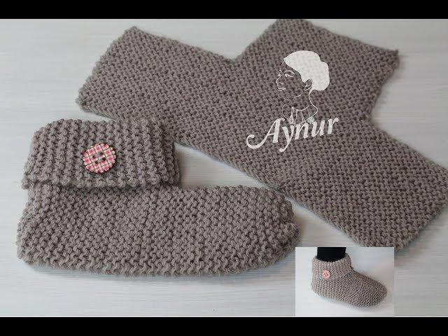DIY-Stricken für Anfänger I Einfache Hausschuhe stricken I Socken stricken I Kolay örgü ev botu