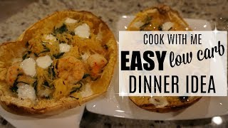 COOK WITH ME 2018 // EASY SPAGHETTI SQUASH RECIPE // LOW CARB MEAL
