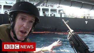 Gulf crisis: Close up to stricken oil tanker with the US Navy - BBC News