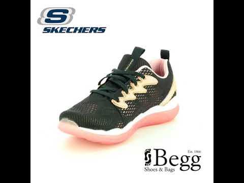 586c8f8b386 Skechers Sparkle Racer 81360 BKRG Black   Rose Gold trainers - YouTube