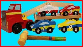 可愛木質小汽車玩具認識數字顏色,還有驚喜出奇蛋