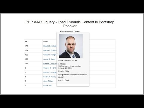 PHP AJAX Jquery - Load Dynamic Content in Bootstrap Popover