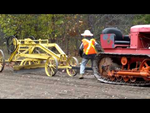 Old Tractor Pulling Antique Grader ...working