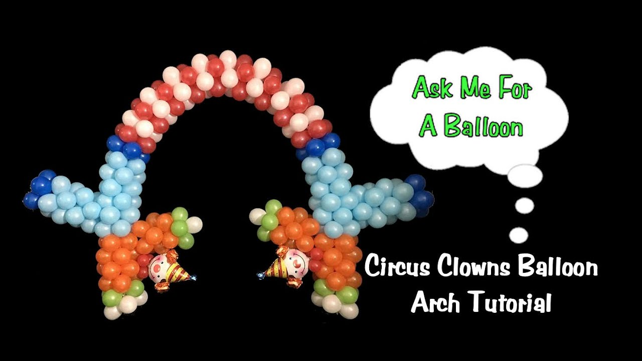 Balloon arch with upside down clowns balloon decoration for Balloon decoration instructions