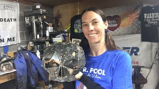 Welding a skull scrap metal welded art MIG project with Barbie The Welder