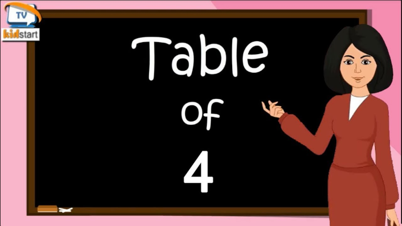 Download Table of 4, Rhythmic Table of Four, Learn Multiplication Table of 4 x 1 = 4 | kidstartv
