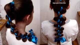 Коса из хвоста 2+2. Причёска в школу. Видео-урок.