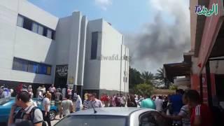 """شاهد.. اشتعال النيران بمبنى مرور """"محرم بك"""" بالإسكندرية"""