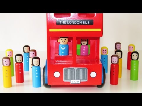 Double decker London bus wooden toy educational video learn colors 3d geometrical shapes