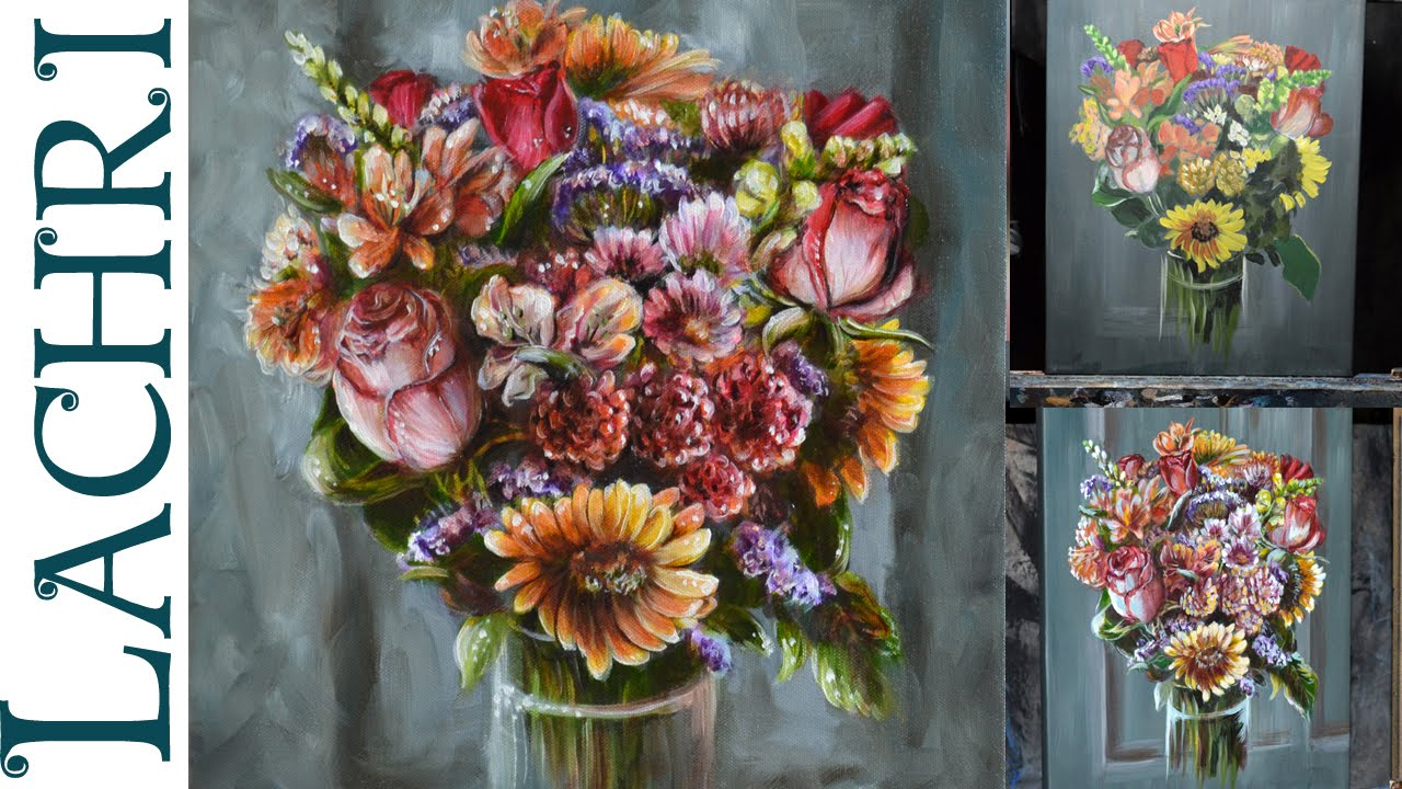 How To Paint Flowers Acrylic Youtube