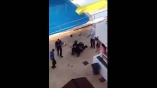 shocking moment  staff  of BH Mallorca Hotel repeatedly hit and kick Magaluf a British holidaymaker