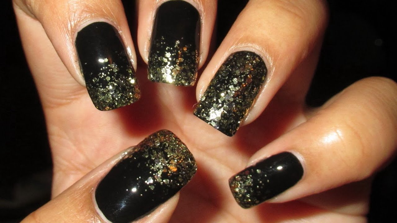 Sparkly Gold & Black French Tip | DIY Nail Art Tutorial | Mani vs ...