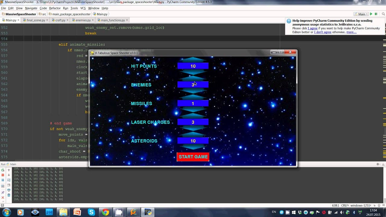 Space Shooter, my first game developed in Python w/Pygame