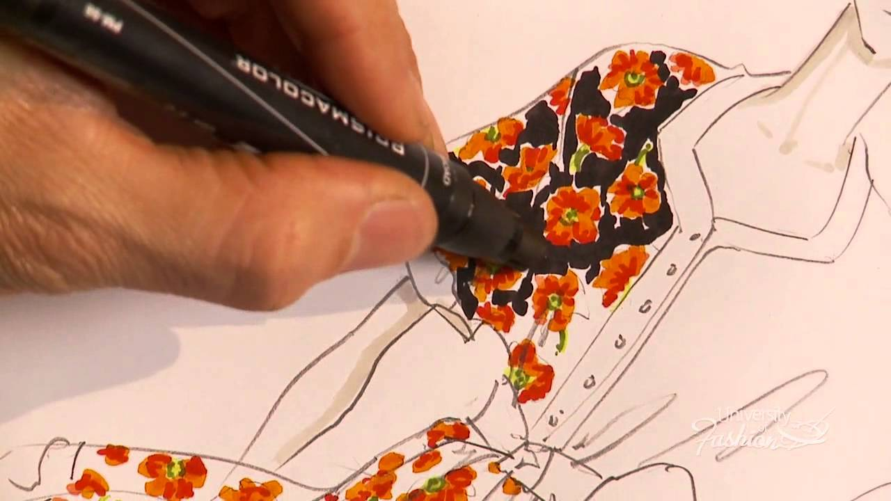 How to hand render a floral print youtube