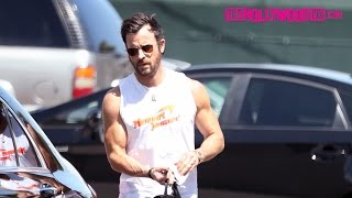 Justin Theroux Looks Ripped While Leaving The Gym In A Newport Cigarettes Shirt 4.18.17