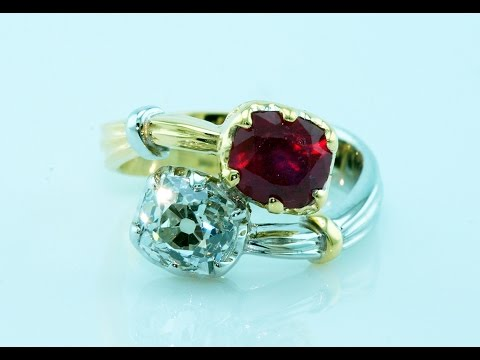 18KT gold contrariè ring with diamond and ruby handmade