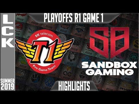 SKT vs SB Highlights Game 1   LCK Summer 2019 Playoffs Round 1   SK Telecom T1 vs Sandbox Gaming