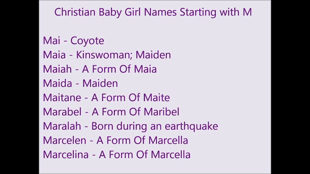 Christian Baby Girl Names M