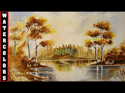 How To Paint Watercolours Autumn Trees/Water/Reflections ...