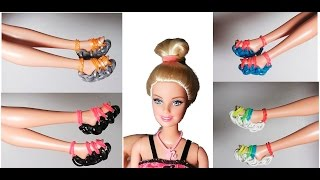 How to make dolls shoes rubber bands with forks without loom or machine