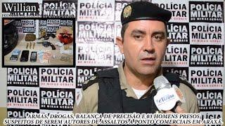 Comando 190 Araxá - Armas, drogas e 03 presos suspeitos de assaltos em Araxá.