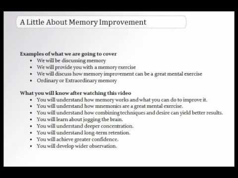 Introduction To Memory Training For Beginners