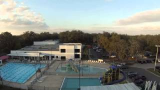 DJI Phantom Practice Flight over, YMCA & Baseball Fields @ Sunset