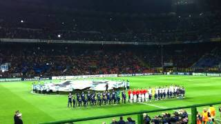 Inter Milan v Spurs. Champions League theme at the San Siro.